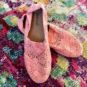 🔥2 x $25🔥Dainty coral crochet flat slip on shoes